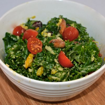 Hearty Kale Salad with Garlic Hummus Dressing