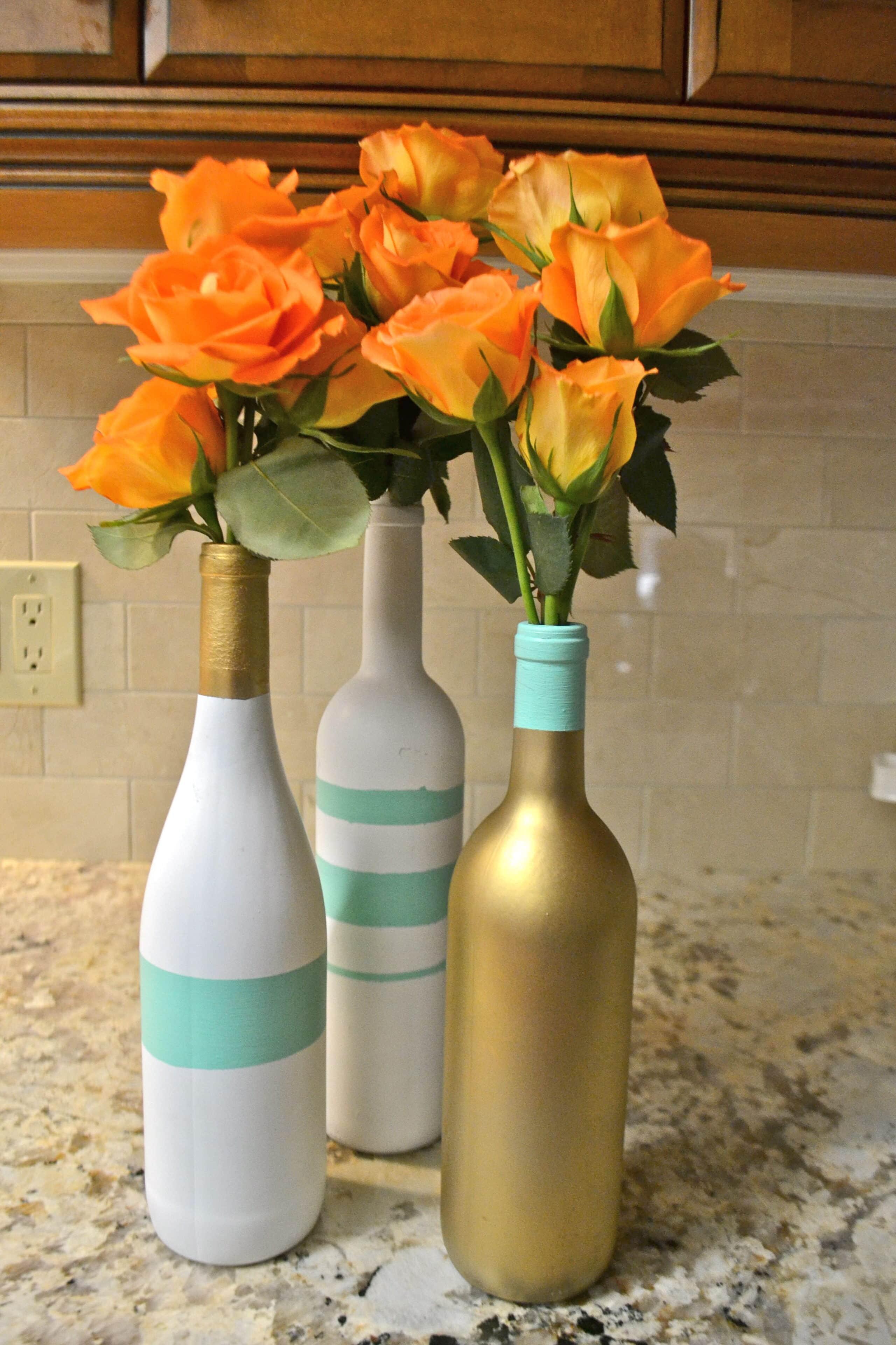Wine bottle vases for Wine bottle flower vase