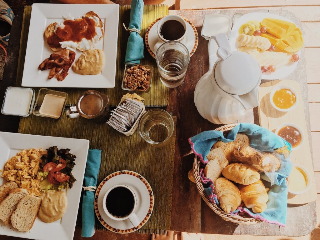 { morning breakfast spread outside our room }